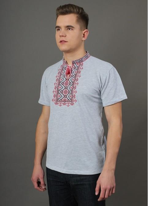 Купити чоловічу футболку вишиванку Зорепад сіра ( з червоним ) в Україні від Галичанка фото 1