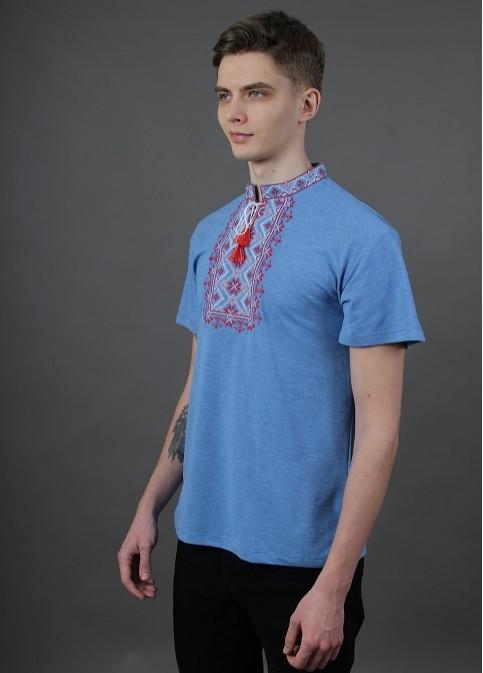 Купити чоловічу футболку вишиванку Зорепад ( джинс голубий з червоним) в Україні від Галичанка фото 1