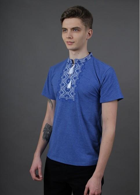 Купити чоловічу футболку вишиванку Зорепад (джинс синій з синім )  в Україні від Галичанка фото 1
