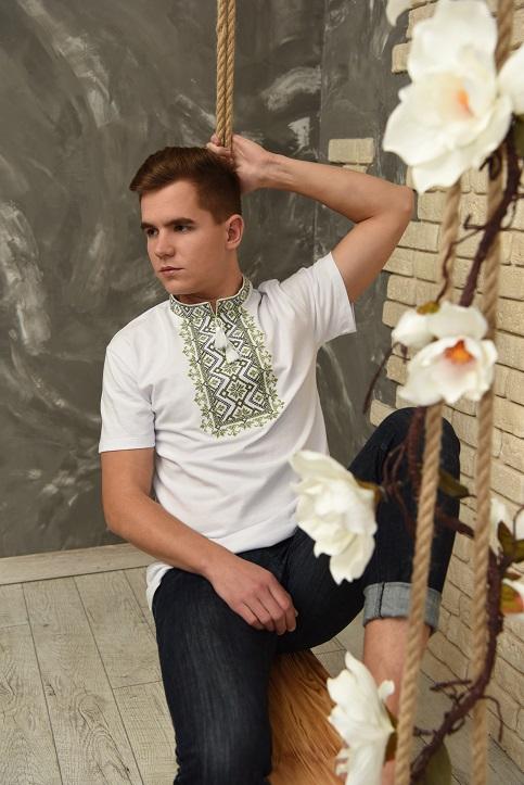Купити чоловічу футболку вишиванку Зорепад (біла з оливковою ) в Україні від Галичанка фото 1