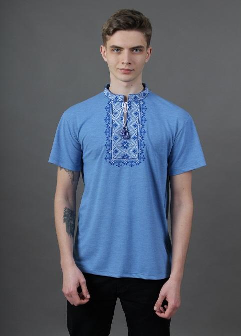 Купити чоловічу футболку вишиванку Зорепад (джинс голубий з синім ) в Україні від Галичанка фото 1