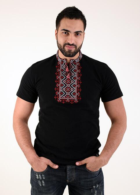 Купити чоловічу футболку вишиванку Зорепад  (синій т. з червоним) в Україні від Галичанка фото 1