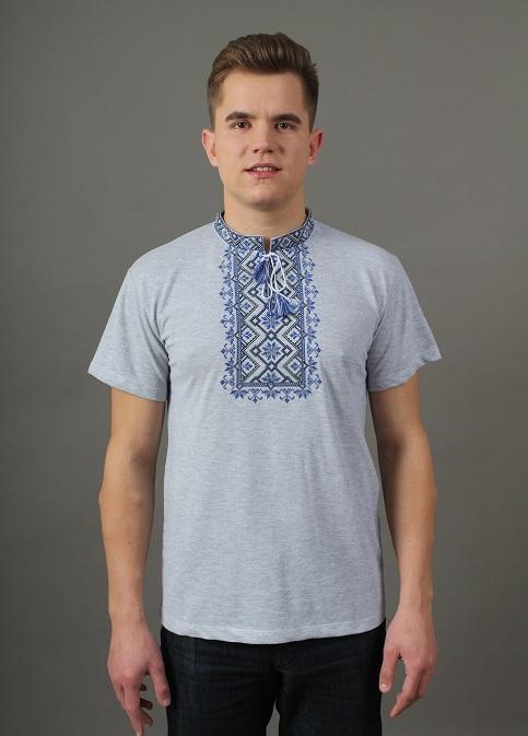 Купити чоловічу футболку вишиванку Зорепад (  джинс-сіра з синім ) в Україні від Галичанка фото 1