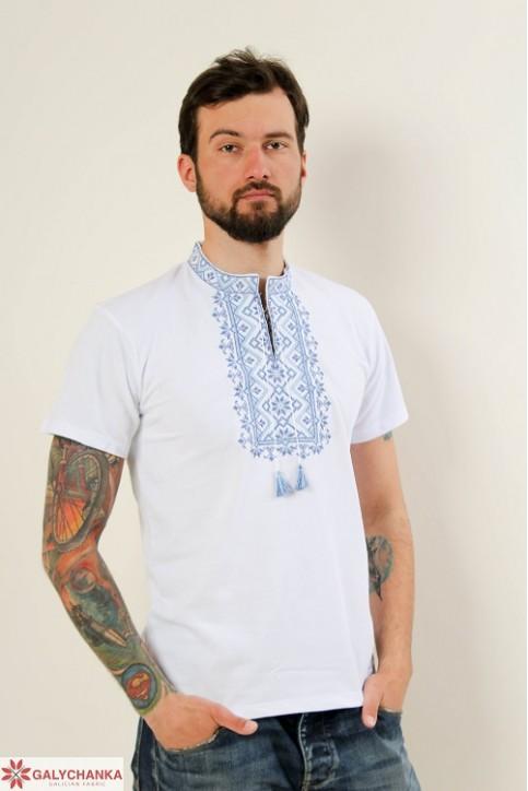 Купити чоловічу футболку вишиванку Зорепад ( біла з синім) в Україні від Галичанка фото 1