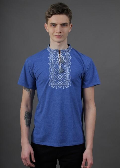 Купити чоловічу футболку вишиванку  Зорепад (джинс синій з сірим )  в Україні від Галичанка фото 1