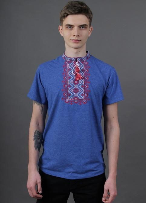 Купити чоловічу футболку вишиванку Зорепад  ( джинс синій з червоним) в Україні від Галичанка фото 1