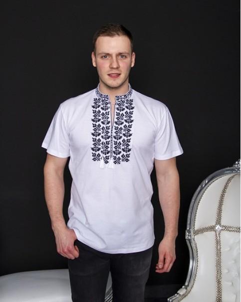Купити чоловічу футболку вишиванку Ярило ( білий з чорним)  в Україні від Галичанка фото 1