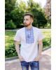 Купити чоловічу футболку вишиванку Ярило ( біла з синім) в Україні від Галичанка фото 1