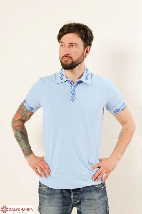 Купити вишиту чоловічу футболку поло Лідер ( голуба гладь синя ) в Україні від Галичанка фото 1