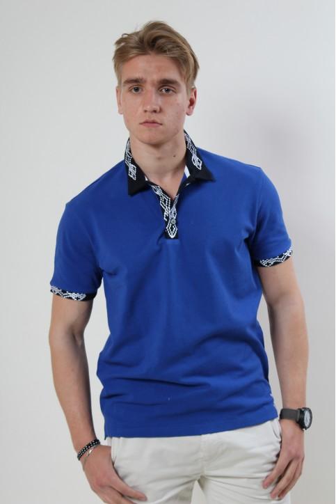 Купити вишиту чоловічу футболку поло Лідер (  електрик стійка синя гладь біла ) в Україні від Галичанка фото 1