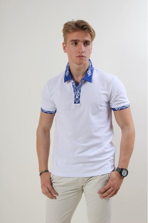 Купити вишиту чоловічу футболку поло Лідер (біла стійка синя гладь біла ) в Україні від Галичанка фото 1