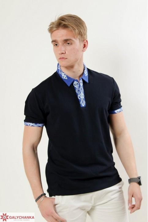 Купити вишиту чоловічу футболку поло Лідер (синя стійка синя гладь біла) в Україні від Галичанка фото 1