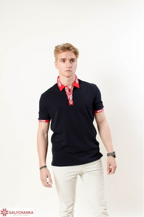 Купити вишиту чоловічу футболку поло Лідер  ( синя стійка червона гладь біла ) в Україні від Галичанка фото 1