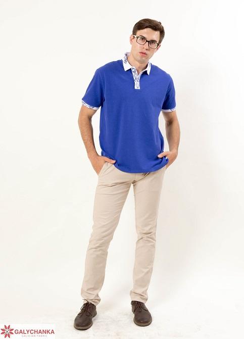 Купити вишиту чоловічу футболку поло Лідер ( електрик стійка біла гладь синя )  в Україні від Галичанка фото 1