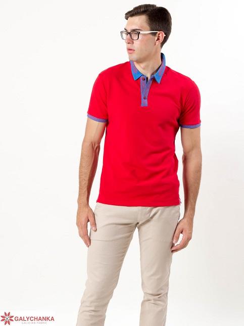 Купити вишиту чоловічу футболку поло Оптиміст (червона стійка голуба ) в Україні від Галичанка фото 1