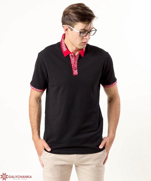 Купити вишиту чоловічу футболку поло Оптиміст ( чорна стійка червона з чорно-білим ) в Україні від Галичанка фото 1