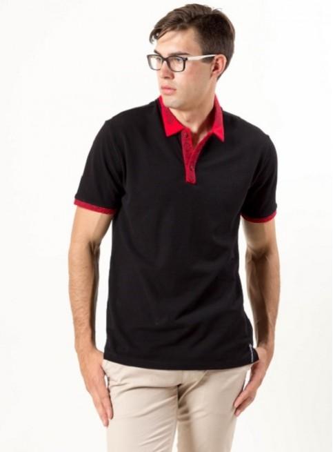 Купити вишиту чоловічу футболку поло Оптиміст (чорна стійка червона з чорним ) в Україні від Галичанка фото 1