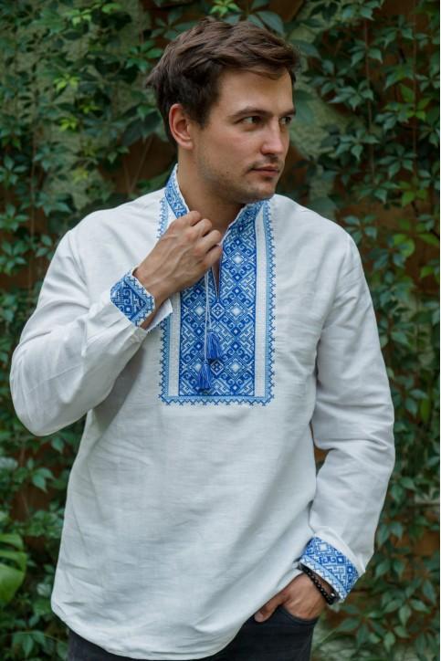 Купити чоловічу вишиту сорочку  Гетьман плюс (синя) в Україні від Галичанка фото 1