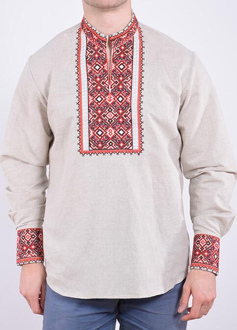 Купити чоловічу вишиту сорочку Гетьман плюс (сірий з червоним) в Україні від Галичанка фото 1