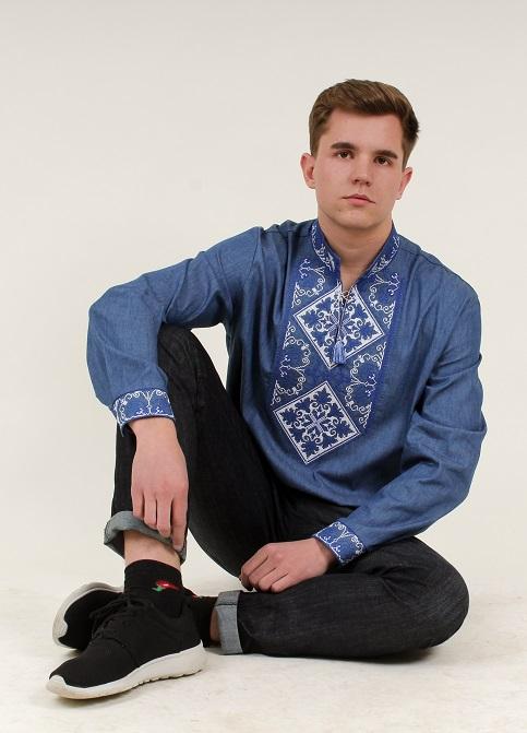 Купити чоловічу вишиту сорочку Говерла ( джинс т. синьо-білий) в Україні від Галичанка фото 1