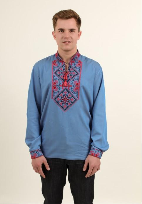 Купити чоловічу вишиту сорочку Говерла ( джинс голубий т. черв.-чорним )в Україні від Галичанка фото 1