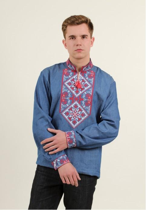 Купити чоловічу вишиту сорочку Говерла (джинс т. з черв-білим)в Україні від Галичанка фото 1
