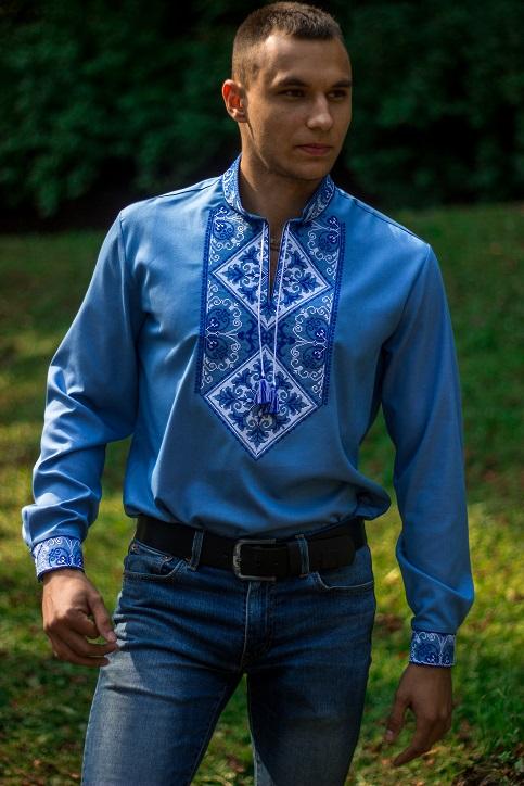 Купити чоловічу вишиту сорочку Говерла (джинс голубий т. синьо-білий )в Україні від Галичанка фото 1