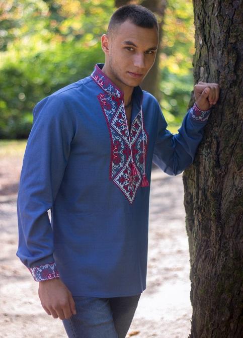Купити чоловічу вишиту сорочку  Говерла (джинс голубий т. черв.-білий )в Україні від Галичанка фото 1
