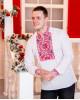Купити чоловічу вишиту сорочку Життєслав (біла з червоно-чорним)в Україні від Галичанка фото 1