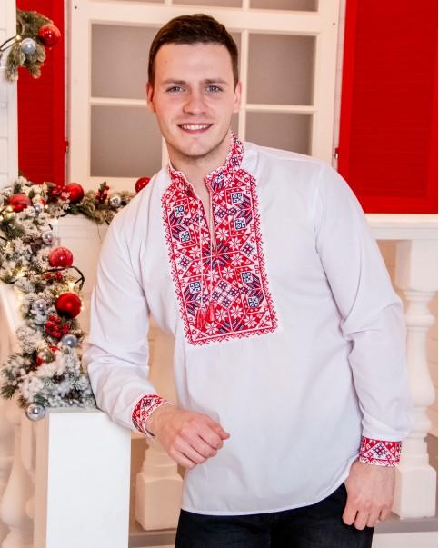 Купити чоловічу вишиту сорочку Життєслав плюс (біла з червоно-чорним)в Україні від Галичанка фото 1