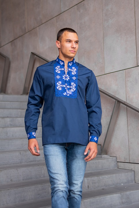 Купити чоловічу вишиту сорочку Життєслав плюс (темно синя з синім)в Україні від Галичанка фото 1