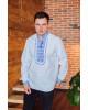 Купити чоловічу вишиту сорочку Капрал плюс (біла з синьо-білим) в Україні від Галичанка фото 2