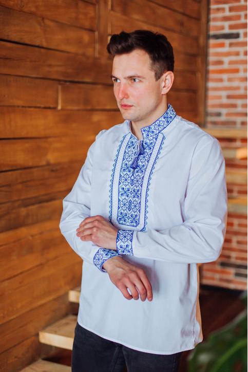Купити чоловічу вишиту сорочку Капрал плюс (біла з синьо-білим) в Україні від Галичанка фото 1