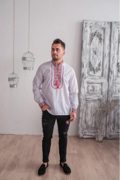 Купити чоловічу вишиту сорочку Капрал плюс  (біла з червоним) в Україні від Галичанка фото 1