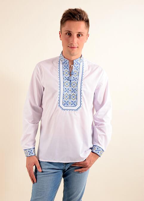 Купити чоловічу вишиту сорочку  Капрал плюс (біла з синім) в Україні від Галичанка фото 1