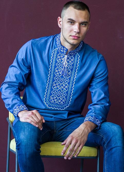 Купити чоловічу вишиту сорочку Капрал плюс (джинс з синім)в Україні від Галичанка фото 1