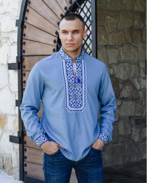 Купити чоловічу вишиту сорочку Капрал плюс (джинс голубий з синім)в Україні від Галичанка фото 1