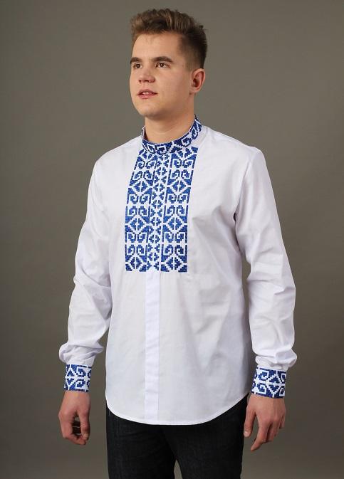 Купити чоловічу вишиту сорочку Легінь ( біла з синім)в Україні від Галичанка фото 1