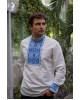 Купити чоловічу вишиту сорочку Отаман плюс (біла з синім)в Україні від Галичанка фото 2