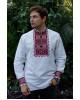 Купити чоловічу вишиту сорочку Отаман плюс (біла з червоним)в Україні від Галичанка фото 1