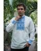 Купити чоловічу вишиту сорочку Отаман плюс (біла з синім)в Україні від Галичанка фото 1