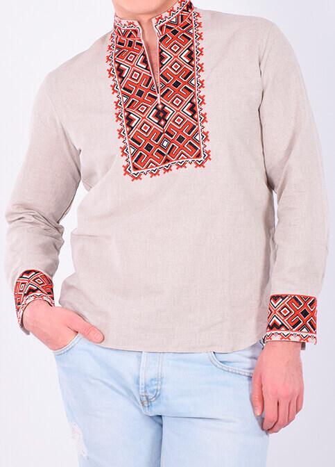 Купити чоловічу вишиту сорочку Отаман плюс (сірий з червоним )в Україні від Галичанка фото 1