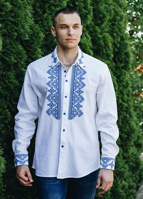 Купити чоловічу вишиту сорочку Перун (біла з синім)в Україні від Галичанка фото 1