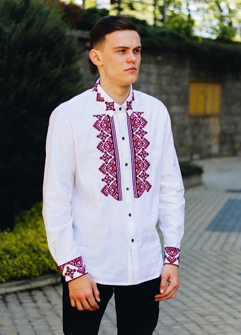 Купити чоловічу вишиту сорочку Перун ( біла з червоним )в Україні від Галичанка фото 1
