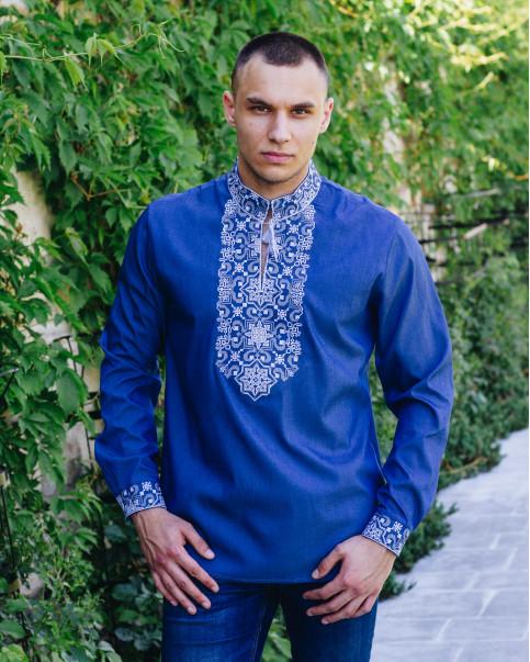 Купити чоловічу вишиту сорочку Полковник (джинс з сірим)в Україні від Галичанка фото 1