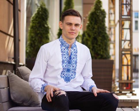 Купити чоловічу вишиту сорочку Полковник плюс (біла з синім) в Україні від Галичанка фото 1