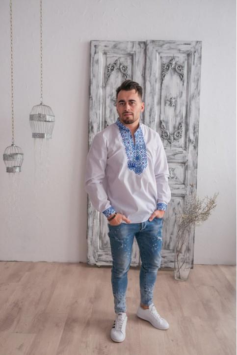 Купити чоловічу вишиту сорочку Полковник плюс ( біла з синім ) в Україні від Галичанка фото 1