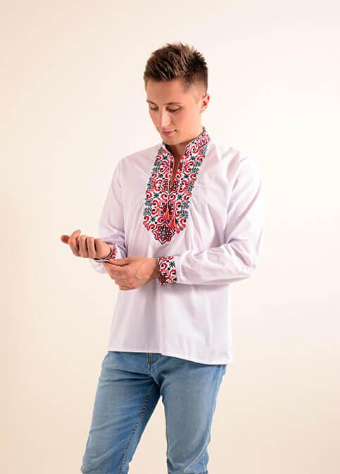 Купити чоловічу вишиту сорочку Полковник плюс (біла з червоним)в Україні від Галичанка фото 1