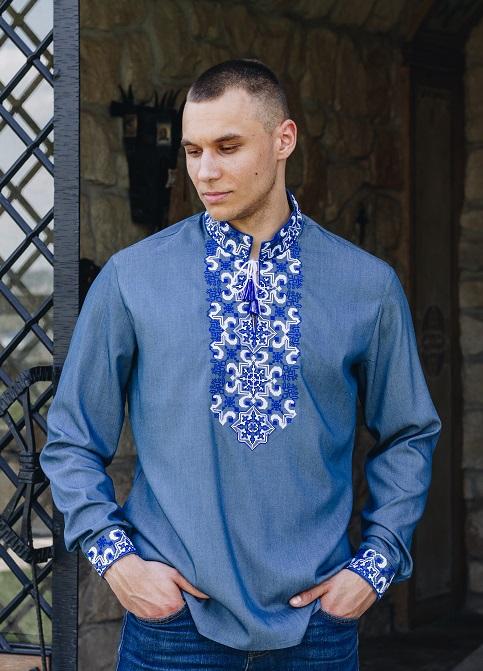 Купити чоловічу вишиту сорочку Полковник плюс  (джинс т. з синім)в Україні від Галичанка фото 1