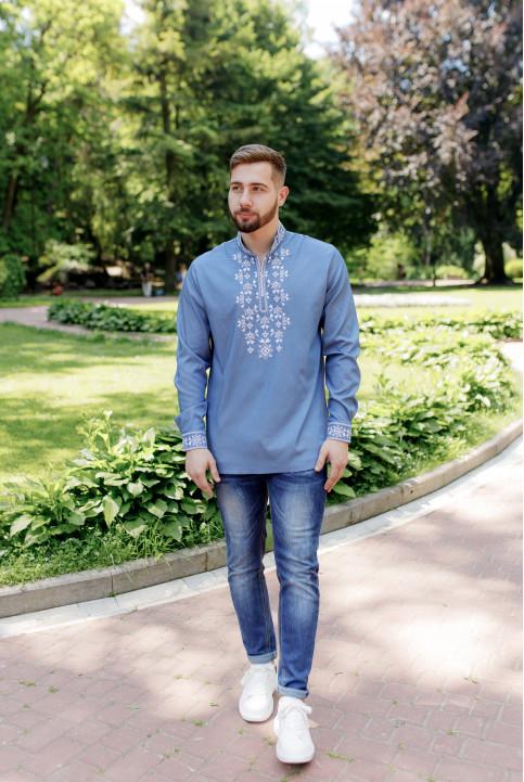 Купити чоловічу вишиту сорочку Росан (джинс т. з білим) в Україні від Галичанка фото 1